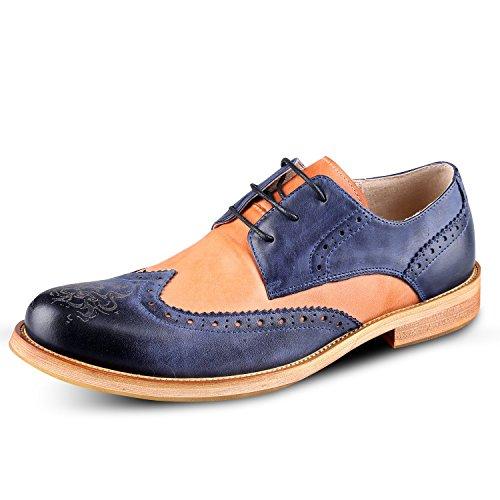 Oxford Leather Santimon Men's Blue Matching Shoes Quarter Business Color Brogue a6wAqr0xwS