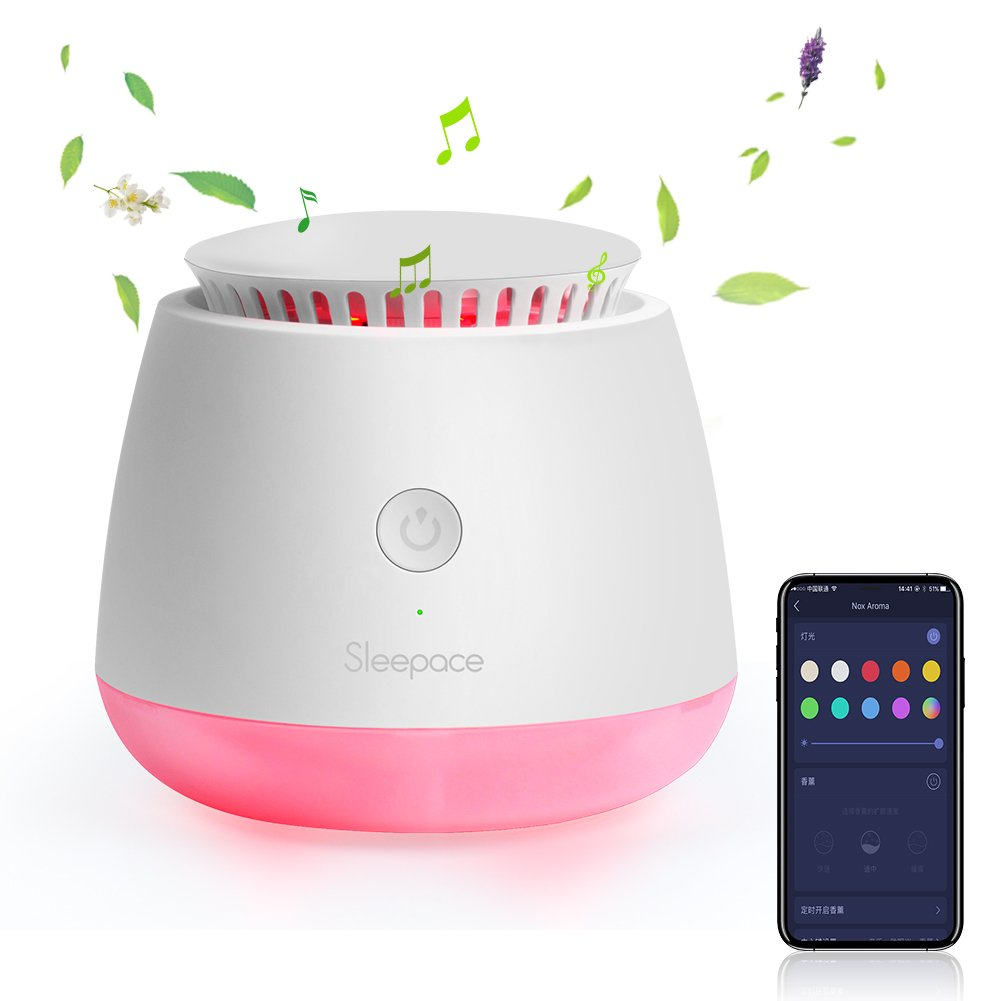 Sleepace Solid Essential Oil Diffuser, Nox Aroma Smart Wake Up Light, Sleep Tracker with Natural Sunrise Sound Therapy, Alexa compatible Night Light Clock (Nox Aroma)