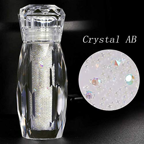 1 Bottle Crystal Micro Nail Pixie Beads Gravel Colorful Multicolor Micro Strass Nail Art Glass Caviar Beads For Nails 3D Decorations (Crystal AB) (Gold Dust Charm)