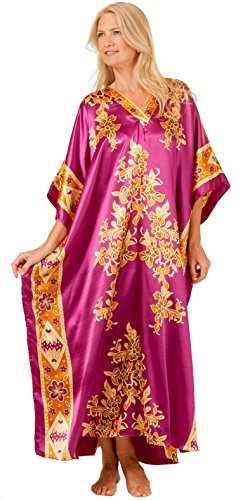 Winlar One Size Satin Charmeuse Caftan in Tiki Plum (One Size Fits Most, Plum/Gold/Yellow) -