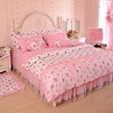MeMoreCool Home Textile Pink Pastoral Style Floral Lace Princess Bedding Set Girly Ruffle Duvet Cover Sets Fashion Exquisite Falbala Bed Skirt Full Size 4Pcs