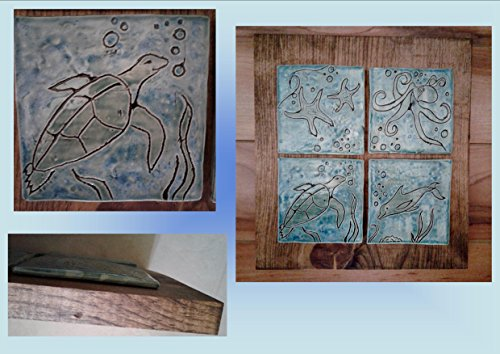 - Turquoise Ocean Sea Turtle Octopus Dolphin Wall Art Hand Carved Ceramic Tiles Stained Solid Pine Plaque Ready to Hang