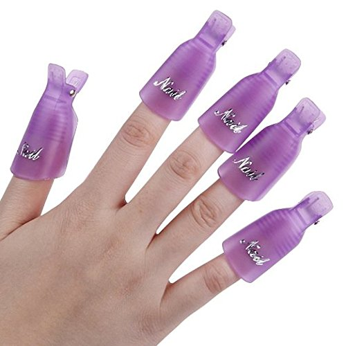 Beauticom 10Pcs PURPLE Acrylic Nail Art Soak Off Cap Clip UV Gel Polish Remover Wrap Reusable Keeper Manicure Tool