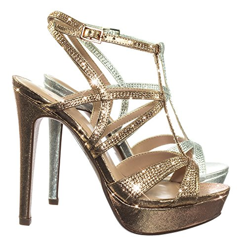 Rhinestone Studded Embelished Cage Gladiator Sandal On High Heel Platform Rose Gold