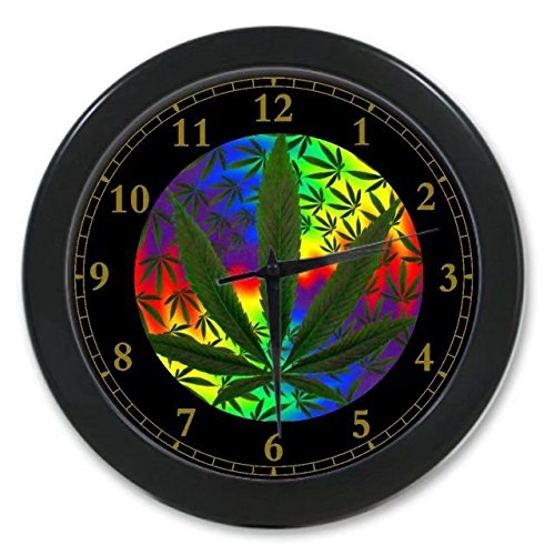 Colorful Marijuana Weed Leaf Custom Wall Clock Quartz 9.65