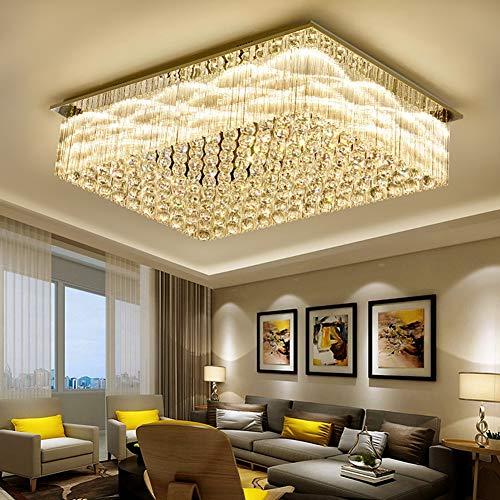 - WJFXG Modern Crystal Raindrop Chandelier Lighting Flush Mount LED Ceiling Light Fixture Pendant Lamp for Dining Room Bathroom Bedroom Livingroom H10 X W28 X L39