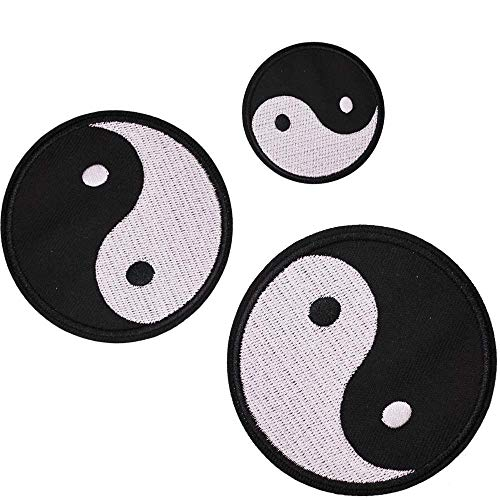 - U-Sky Sew or Iron on Patches for Clothes - Yin and Yang Taiji Logo Patch for Jeans, Jackets, Backpacks, Hats - 3pcs Different Size Pack - 3.77 inch / 2.95 inch / 2 inch