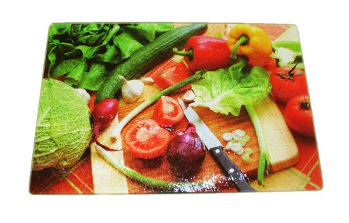 Decorative Tempered Glass Cutting Board With Padded Feet (Veggies)