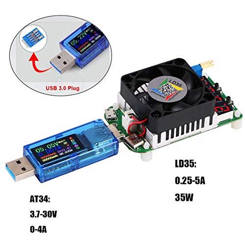 MakerHawk USB 3.0 Tester Multimeter 3.7-30V 0-4A USB Voltage Tester USB Digital Current, Voltage Tester Meter Voltmeter AT34 and USB Load Tester Electronic Load Tester Resistor Module LD35 35W DC4-25V by MakerHawk