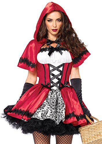 Little Red Riding Hood Costumes Halloween (Leg Avenue Women's 2 Piece Gothic Red Riding Hood Costume, Red/White, Small)