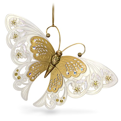 Hallmark Keepsake Christmas Ornament 2018 Year Dated, Brilliant Butterflies Gold and White 2 Hallmark Keepsake Ornament
