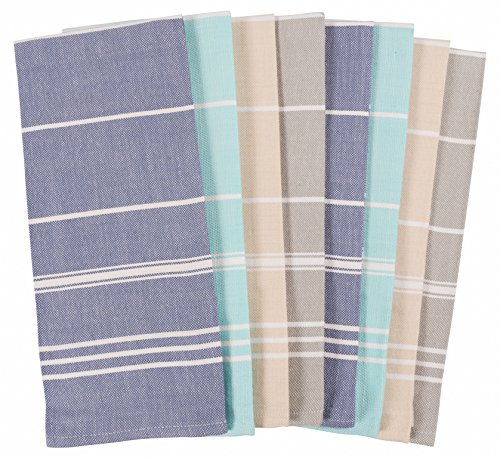 KAF Home Striped Kitchen Towels | Set of 8, 100% Pure Cotton, 16