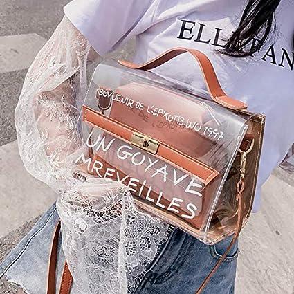 Alextry Women Composite Bags Brieftasche aus transparentem PVC mit bedrucktem Schultergurt aus PU-Leder Pink