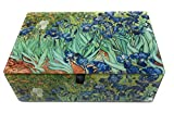 Value Arts Van Gogh Iris Glass Keepsake Box, Beveled Edges, Velvet Lined, 5.75 Inches Wide