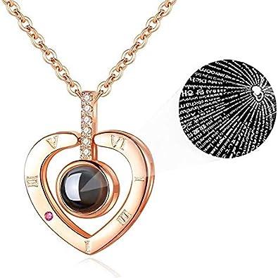 iAmotus Collar Mujer Memoria de Amor Collar de 100 Idiomas I Love You Pendant Necklace para Mujeres Regalo de San Valentín