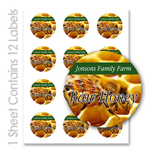 Raw Honey Farm Kitchen Personalized Name Round Mason Jar Labels (Label-10, 60 Labels on 5 Sheets)