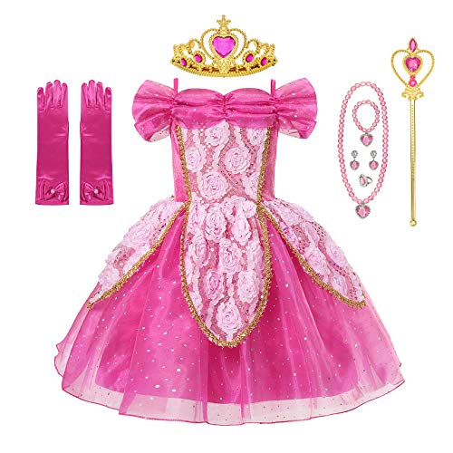 Little Girl Princess Belle Cinderella Sleeping Beauty Jasmine Costume Fancy Dress Up Aurora]()