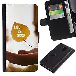 Planetar® Modelo colorido cuero carpeta tirón caso cubierta piel Holster Funda protección Para Samsung Galaxy Note 4 IV / SM-N910 ( Life Is Good )