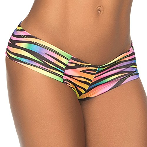 Espiral Women's Cheeky Wild Side Boyshort Zebra Print Medium/Large (Wild Zebra Adult Womens Costume)