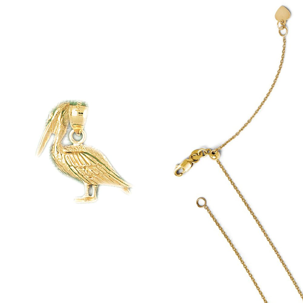 14K Yellow Gold Pelican Bird Pendant on an Adjustable 14K Yellow Gold Chain Necklace