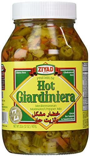 Italian Pickled Peppers - Ziyad Giardiniera Mediterranean Peppers Mix, Hot, 32 Ounce