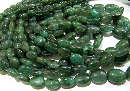 Natural Emerald Beads Oval Plain Nugget Beads 4x6 to 10x13mm Graduated Beads Strand 8 inch Untreated Genuine Emerald Zambian Beads