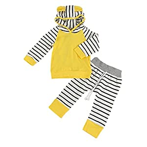 Puseky Baby Boy Gril Kids Animal Ear Hooded Sweatshirt+Pants Outfit Clothes Set