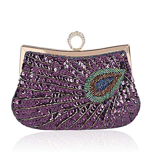 Bag Beads Women Evening Sequin Clutch Wallet Party Peacock Purple Pu BYNNIX Peacock Vintage Handbag atqFEv
