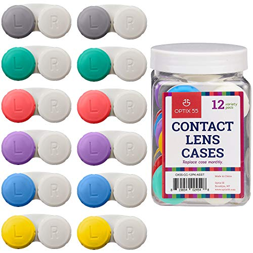 Contact Lens Cases, 12 Pack - Assorted Separate Colors for Left/Right Eyes - Durable, Compact, Portable, Bulk Supply - by Optix 55 (Contact Lenses Case Clean)