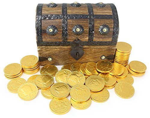 WellPackBox Real Wood Pirate Treasure Chest Filled With 50 Gold Chocolate Coins (Large 7 x 5 x 4.5)