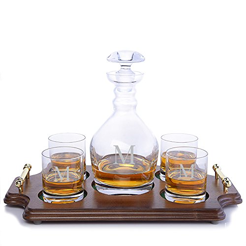 (Personalized Ravenscroft Lead-free Crystal Jefferson Whiskey Liquor Decanter & 4 Rocks Glasses with Walnut Serving & Presentation Tray with Brass Handles Engraved & Monogrammed - Retirement Gift)