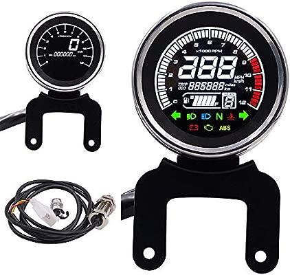 Electroplated Iron Motorcycle LCD Digital Speedometer Odometer Fuel Gauge