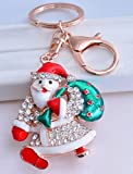 SANTA 2'' Holding Bag of Gifts Key Chain is Embellished with Crystal Rhinestones.Fun Pre-Christmas Gift for Anyone in your Life