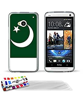 """Carcasa Flexible Ultra-Slim HTC ONE de exclusivo motivo [Bandera Pakistán] [Gris] de MUZZANO  + 3 Pelliculas de Pantalla """"UltraClear"""" + ESTILETE y PAÑO MUZZANO REGALADOS - La Protección Antigolpes ULTIMA, ELEGANTE Y DURADERA para su HTC ONE"""