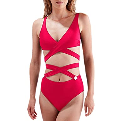 ff2ca66391 rainbol Summer Women Swimwear Beachwear 2 Pieces Solid Bandage Bikini  Swimsuit Bathing Suit Red
