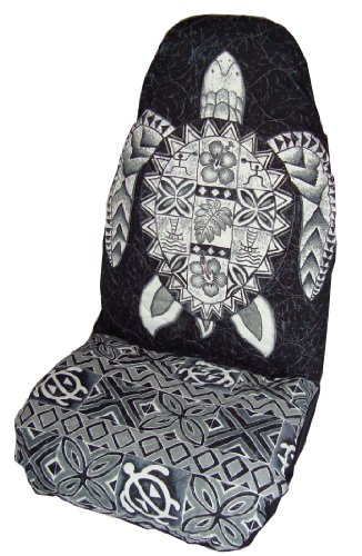 Black Honu (Sea Turtle) Hawaiian Car Seat Covers (Standard Size) by Winnie Fashion - Seat Covers Standard Driver