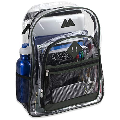 Clear Backpack with Water Bottle Holder, Stadium Approved for Men, Women, Boys, and Girls, with Adjustable, Padded, Reinforced Straps (Ridge Mens Slip)