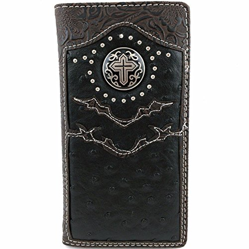 2015 Cross Men's Collection Concho Leather Bifold Wallet, Extra Checkbook. Black