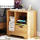 Log color bedside table Simple modern Multifunction Simple bedside table [lockers] Wood density board-D