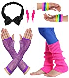 JustinCostume Women's 80s Outfit Accessories Neon Earrings Leg Warmers Gloves (L)