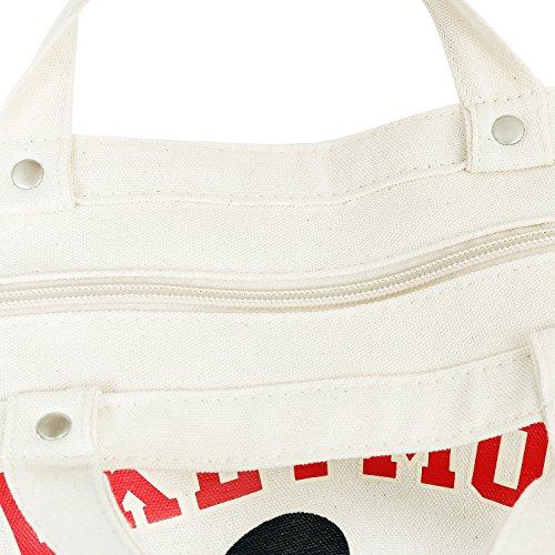 tela bianca stampa puro Disney bianco da Borsa di ililily viaggio in cotone Topolino 78pBnwtqn