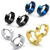 BodyJ4You Stainless Steel Huggie Hinged Hoop Earrings 4 Pairs Set