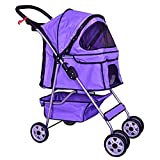 Cheap BestPet 4-Wheel Pet Stroller, Classic Purple