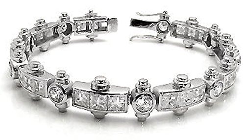 Mens Chain Link Bracelet White Clear Invisible Cut Cz Sterling Silver (8.25) by The Ice Empire Jewelry