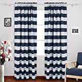 Deconovo Navy Blue Striped Blackout Curtains Rod Pocket Nautical Navy and Greyish White Striped Curtains for Kids Room 52W X 84L Navy Blue 2 Panels