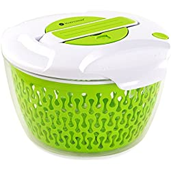 Maestoware Salad Spinner Large 6.8 Quart - Dry Off & Drain Lettuce and Vegetable With Ease for Tastier Salads and Faster Food Prep