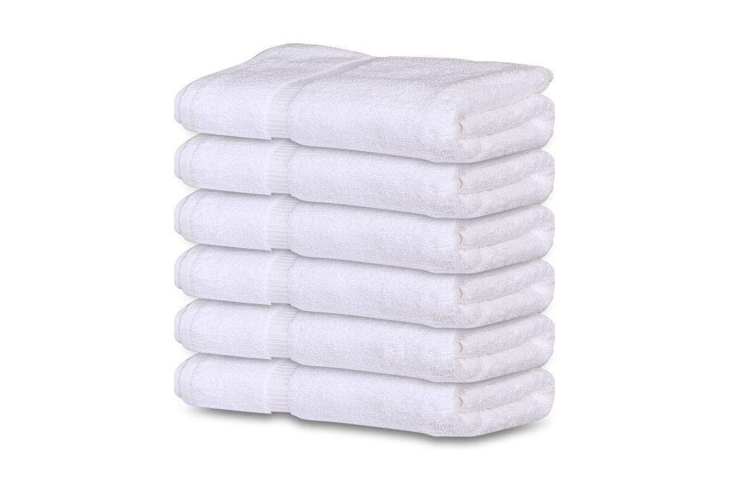 GOLD TEXTILES Premium 100% Cotton White Bath Towel Set (6 Pack, 24 x 50 Inch) High Absorbency Multipurpose Quick Drying Pool Gym Hotel Spa Bath Towels (6, White)