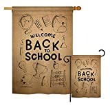 Breeze Decor Welcome Back Burlap - School & Education Special Occasion Vertical Impressions Decorative Flags Printed In USA House & Garden Flags matching Set
