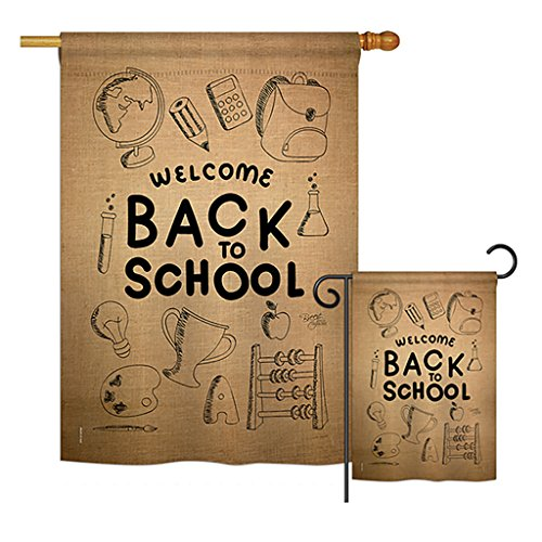 Breeze Decor Welcome Back Burlap - School & Education Special Occasion Vertical Impressions Decorative Flags Printed In USA House & Garden Flags matching Set by Breeze Decor