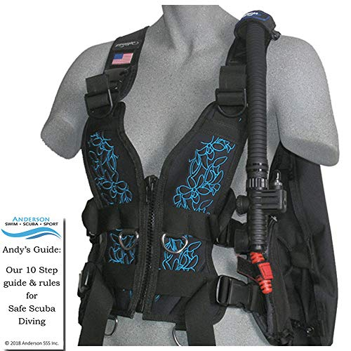 Zeagle Zena BCD Aqua Blue Floral Size Small - Womens Buoyancy Compensator Ripcord Weight System Twin Waist Hip Band Bundle Andersons Scuba Safety Guide ()